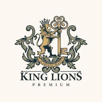 Leão heráldico e logotipo chave