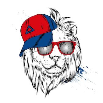 Leão lindo com óculos e uma ilustração de boné