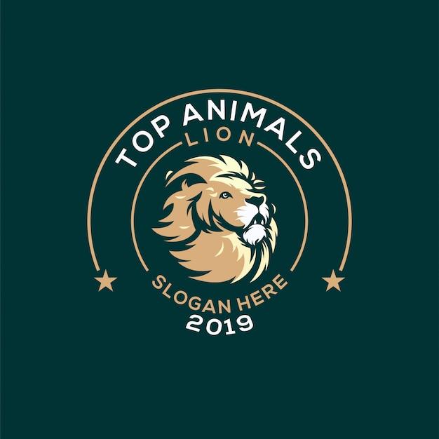 Leão logotipo premium vector