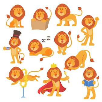 Leão mascote pose feliz cartoon personagem selvagem bonito safari mamífero gato selva animal ilustração.
