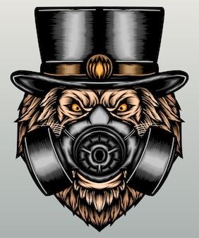 Leão moderno com máscara de gás.