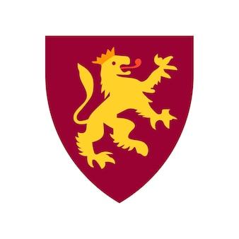 Leão na ilustração de heráldica do escudo. vetor de design de crista de leão do brasão de armas. design do logotipo da marca royal