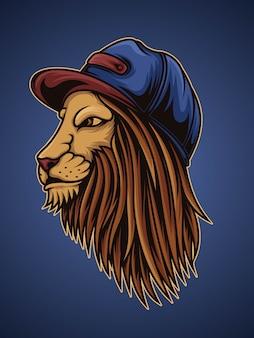 Leão na ilustração do estilo rapper