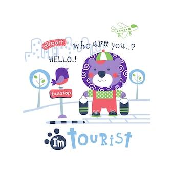 Leão, o turista animal engraçado dos desenhos animados, ilustração vetorial