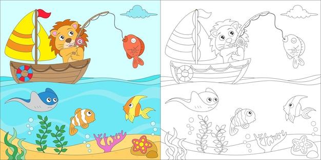 Leão para colorir pescando no mar