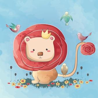 Leão pequeno bonito de cabelo cor-de-rosa