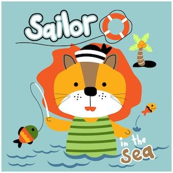 Leão pescando no mar desenho animado de animal