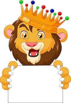 Leão-rei dos desenhos animados segurando cartaz em branco