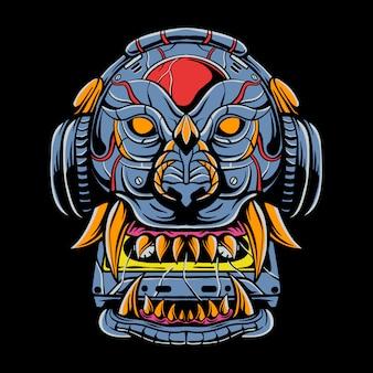 Leão robótico comendo fita cassete e usando fone de ouvido