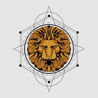 Leão sagrado clássico da geometria