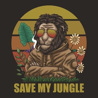 Leão salvar minha selva retrô