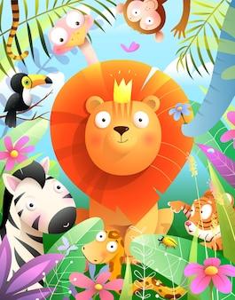 Leão usando coroa um rei de animais da selva com elefante tucano macaco tigre cobra e zebra Vetor Premium