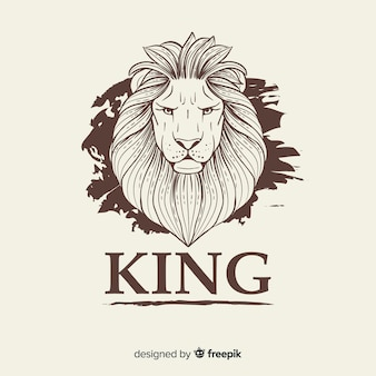 Leão vintage com fundo de slogan