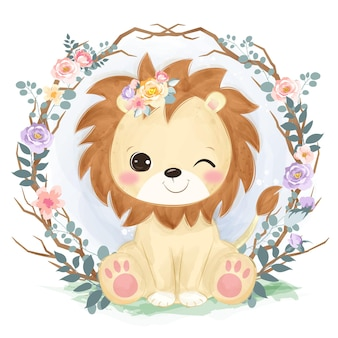 Leãozinho fofinho em aquarela para decoração de berçário