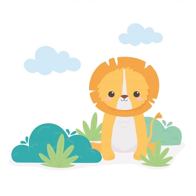 Leãozinho fofo deixa animais de desenho em folhagem em uma ilustração vetorial de paisagem natural