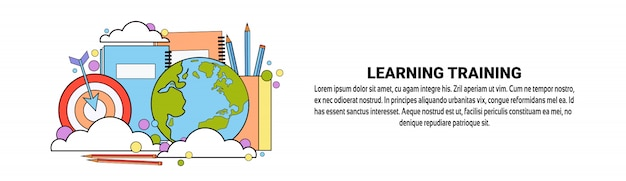 Learning training business education conceito modelo de banner horizontal