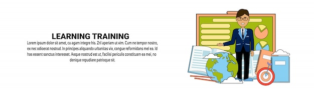 Learning training coaching business concept modelo de banner horizontal