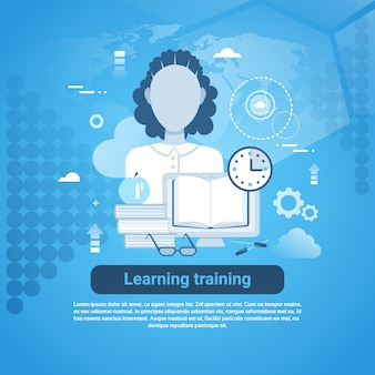 Learning training education online banner de conceito da web