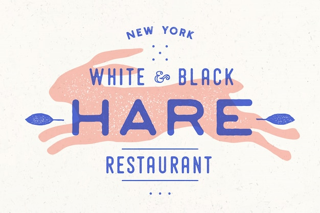 Lebre, coelho. logotipo vintage, impressão retrô, pôster para açougue