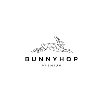 Lebre de coelho que salta o modelo do logotipo do lúpulo do coelho