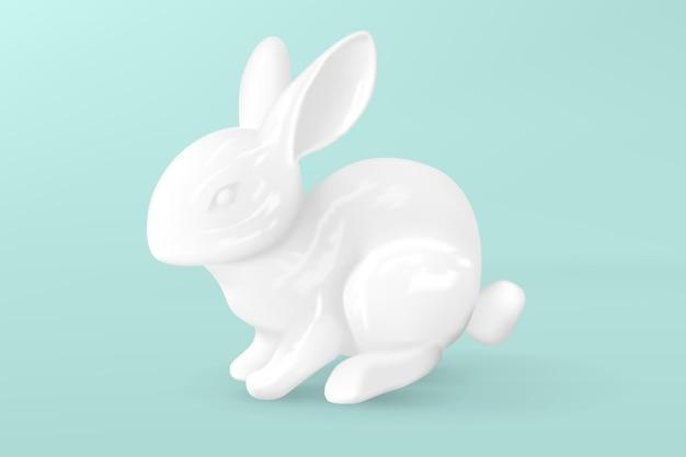 Lebre decorativa em porcelana branca. coelhinho da páscoa