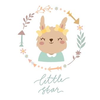 Lebre em uma coroa de flores. pequena estrela