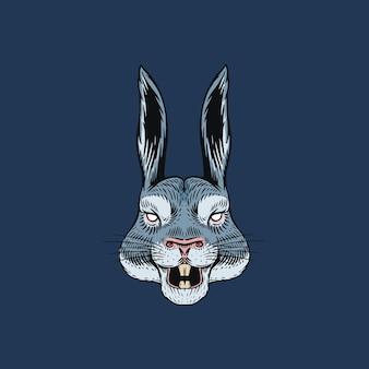 Lebre gritando ou coelho louco para tatuagem ou etiqueta. animal que ruge. arte de linha desenhada à mão gravada