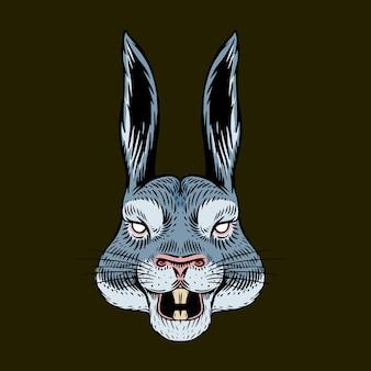 Lebre gritando ou coelho louco Vetor Premium