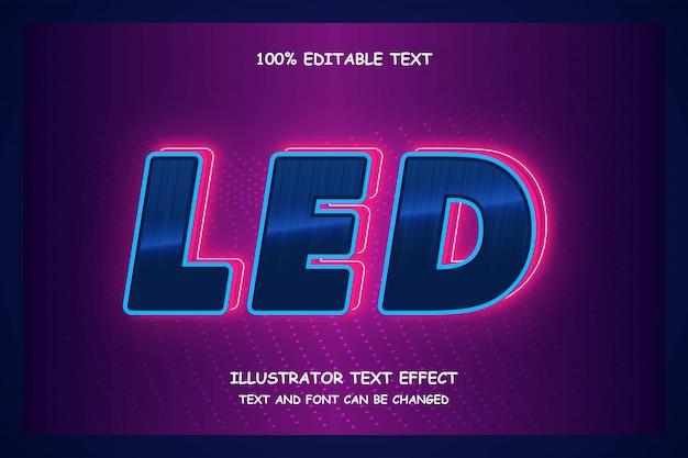 Led, efeito de texto editável estilo neon moderno