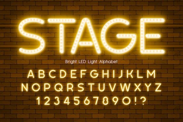 Led luz 3d alfabeto, tipo moderno extra brilhante. controle de cores de amostra.