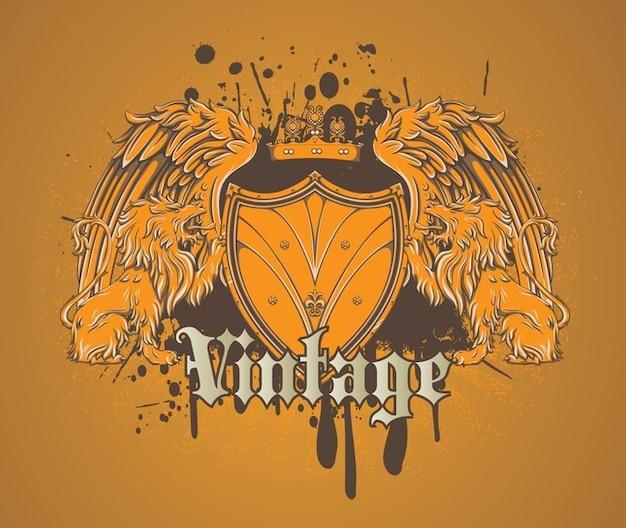 Legal leão heráldico escudo vector
