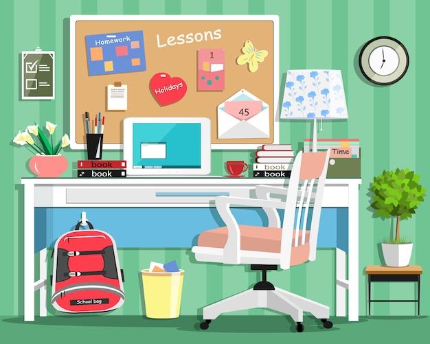 Legal quarto adolescente moderno com local de trabalho: mesa, cadeira, quadro, abajur, mochila escolar, laptop, papelaria e livros. ilustração de estilo simples