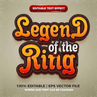 Legend of the ring editável efeito de texto cartoon estilo de título de jogo em quadrinhos