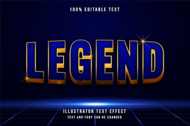Legenda, efeito de texto editável 3d.
