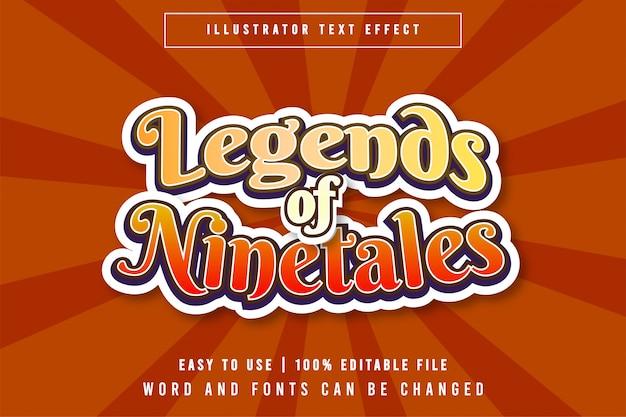 Legends of ninetales título jogo editável estilo efeito texto