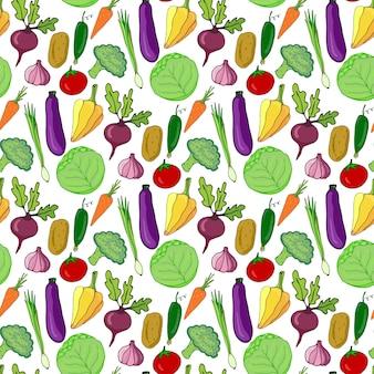 Legumes coloridos padrão desenhado à mão sem costura. ilustração do vetor. fundo estilizado de vegetais para design.