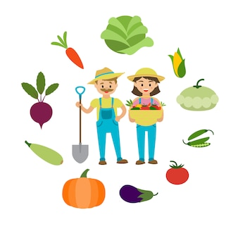 Legumes da fazenda e família de agricultores.