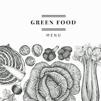 Legumes de esboço desenhado de mão. fundo de alimentos orgânicos frescos.