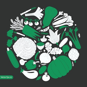 Legumes de mão desenhada dos desenhos animados