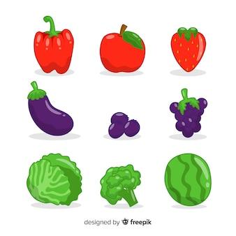 Legumes de mão desenhada e pacote de frutas