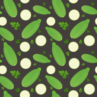 Legumes de tutano inteiro e fatias isoladas em fundo escuro. abobrinha madura com folhas de salsa. padrão uniforme.