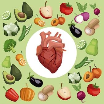 Legumes e frutas com alimentos saudáveis com coração no centro