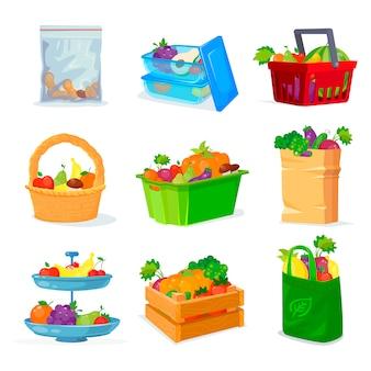 Legumes e frutas diferentes de armazenamento