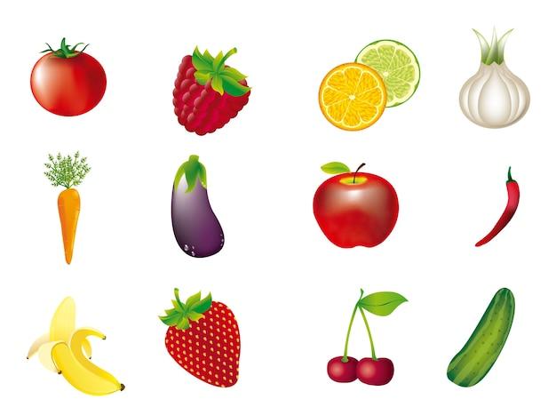 Legumes e frutas isoladas sobre o vetor de fundo branco