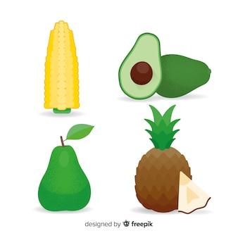 Legumes e frutas planas
