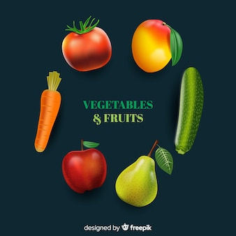 Legumes e frutas realistas
