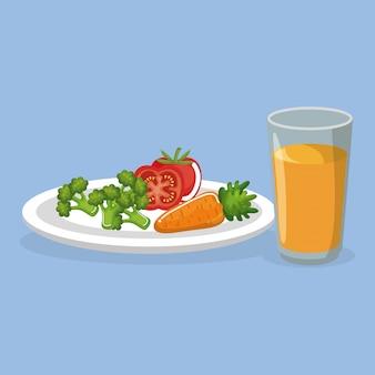 Legumes e suco comida deliciosa café da manhã