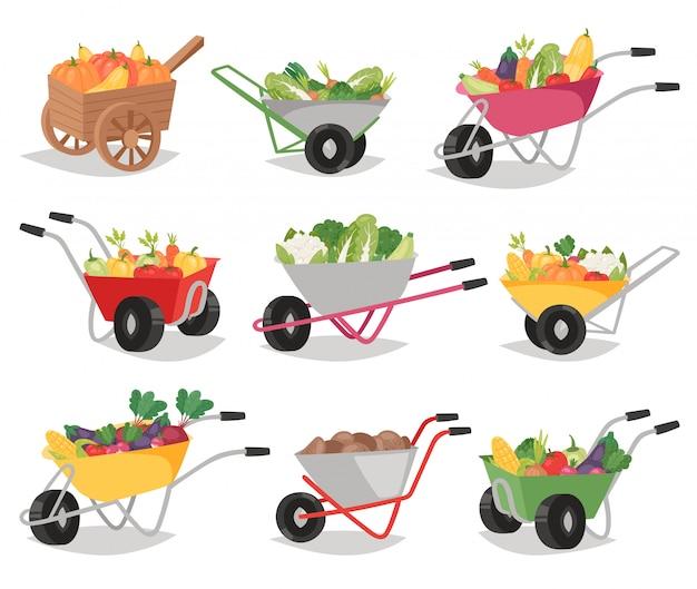 Legumes em carrinho de mão nutrição saudável de pimenta de tomate e cenoura de forma vegetal no carrinho de mão para vegetarianos que comem agricultura conjunto de ilustração de alimentos com vegetação isolado no fundo branco