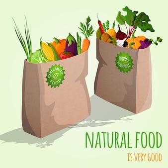 Legumes em ilustração de sacos