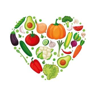 Legumes formando coração sobre fundo branco. ilustração vetorial